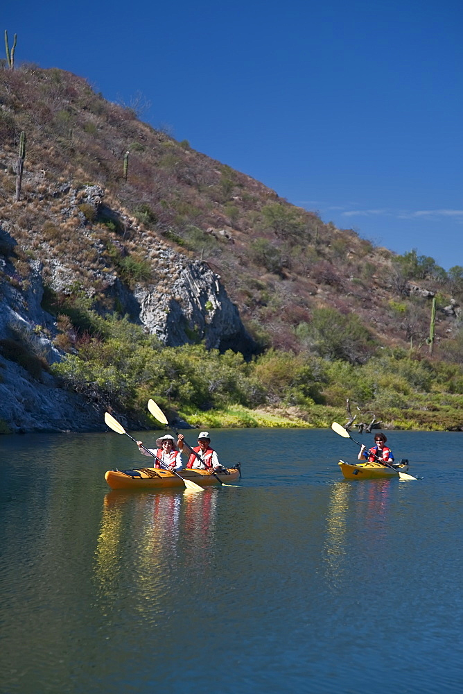 Kayaking in a brackish lagoon along the Baja Peninsula in the Gulf of California (Sea of Cortez), Baja California Norte, Mexico. No model or property releases for this image.