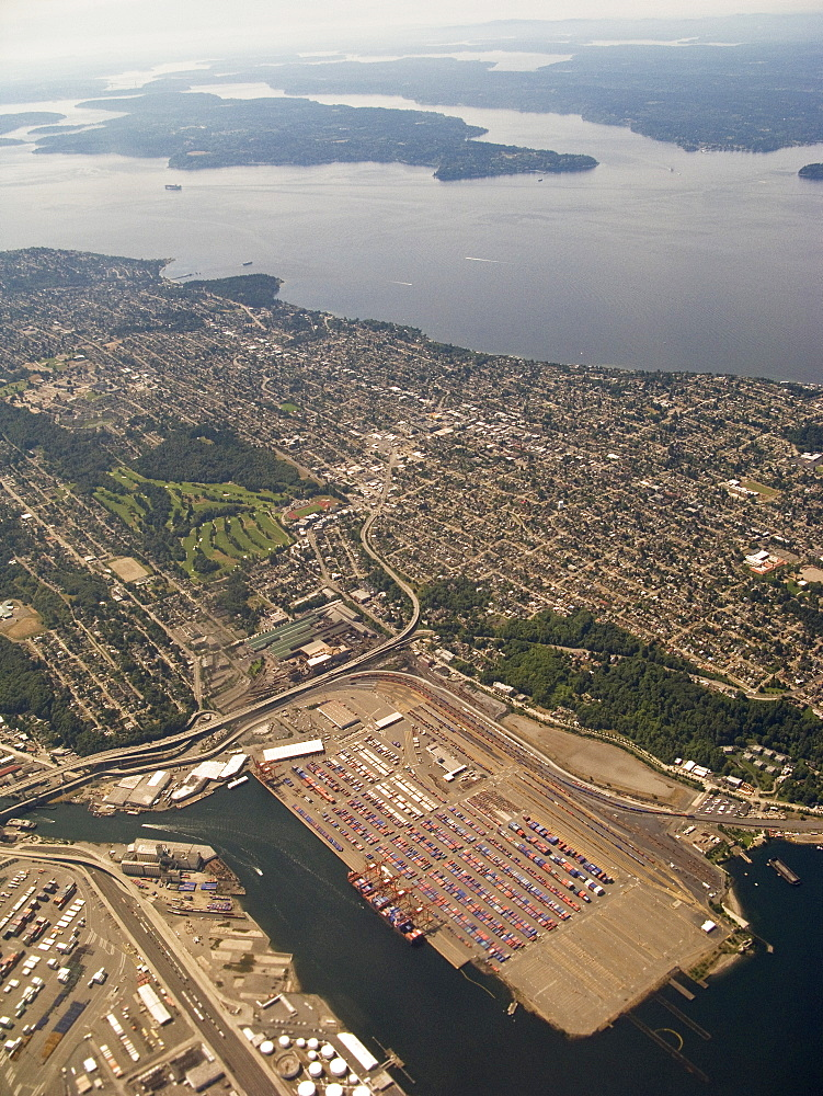Views of the approach to Seattle, Washington area from a commercial airline, USA. Pacific Ocean.