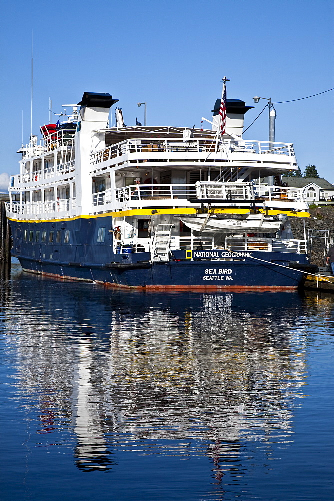The Lindblad Expeditions ship National Geographic Sea Bird operating in Southeast Alaska, USA. No property or model release available for this image.