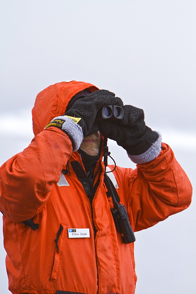 Staff from the Lindblad Expedition ship National Geographic Explorer Steve Gould in Antarctica