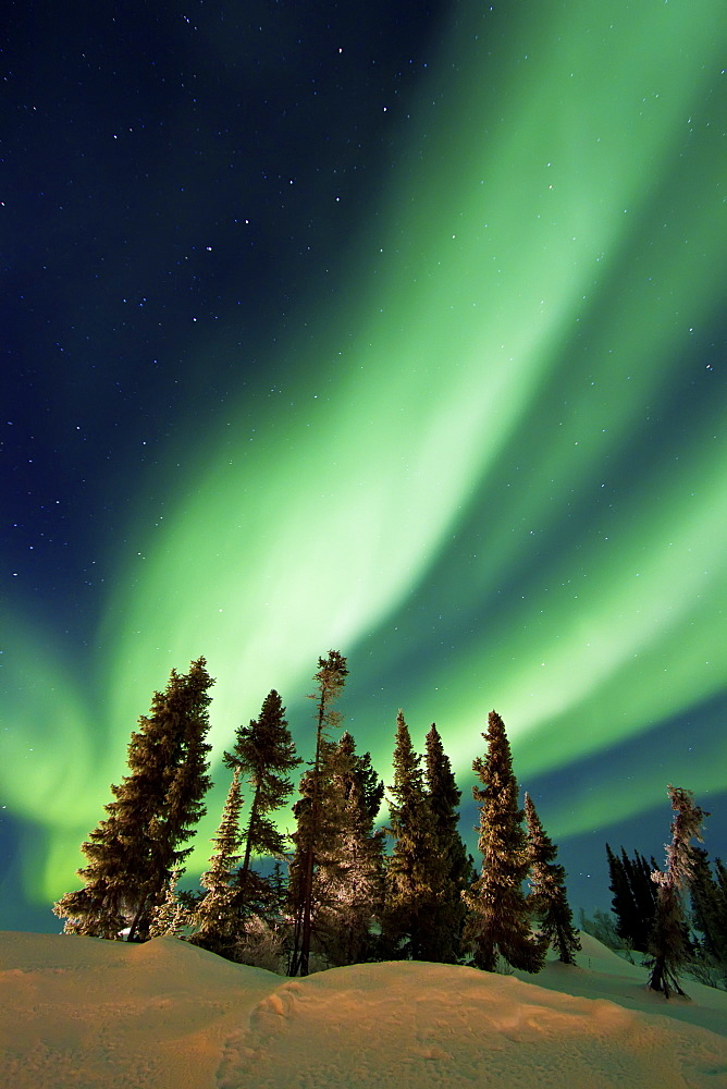 Aurora Borealis (Northern (Polar) Lights) over the boreal forest outside Yellowknife, Northwest Territories, Canada, MORE INFO The term aurora borealis was coined by Pierre Gassendi in 1621 from the Roman goddess of dawn, Aurora, and the Greek name for no