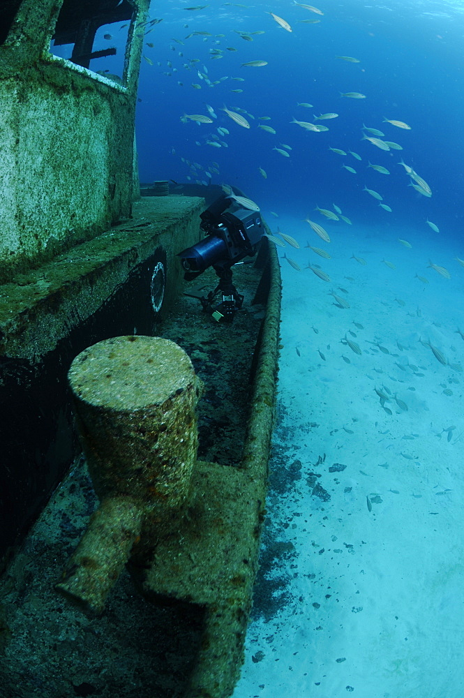Camera equipment on the wreck of the 'Blue Plunder'. Bahamas.