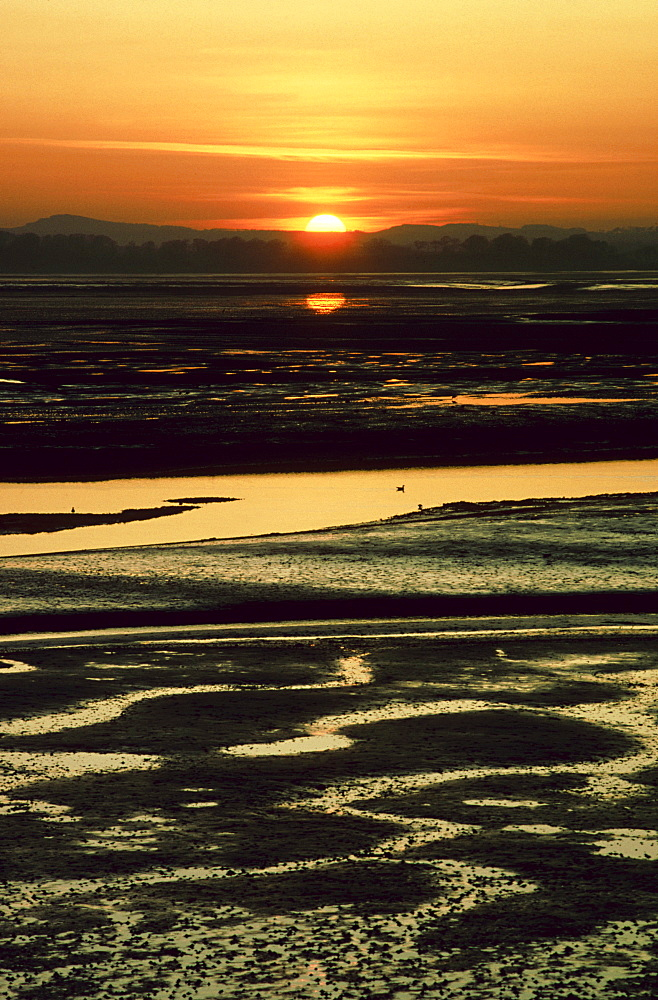 sunset on mudflats, montrose basin, angus, scotland - 987-250