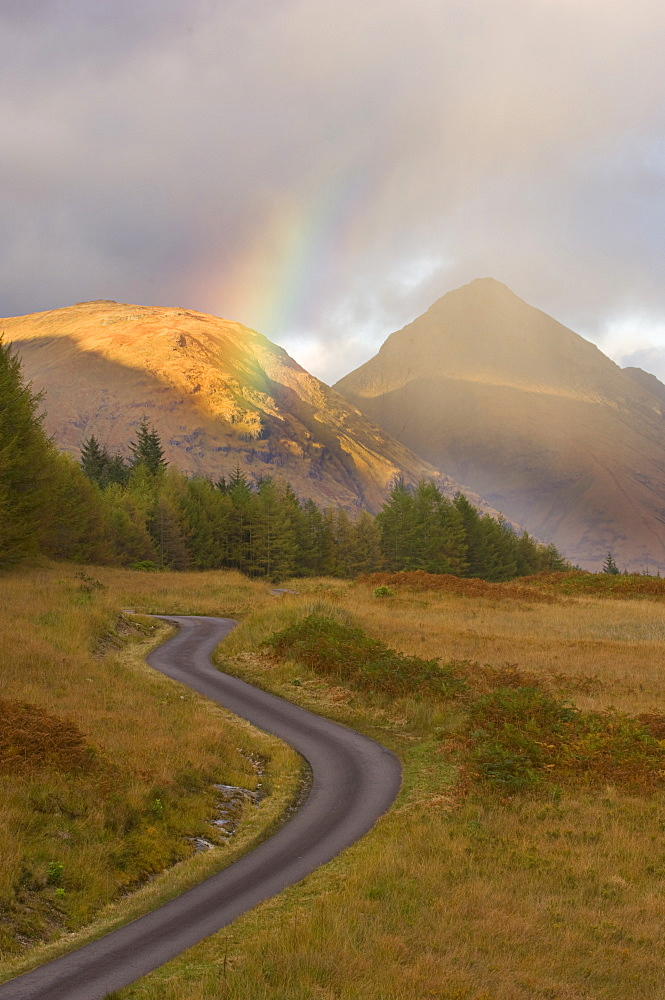 Winding mountain road, Glen Etive, Argyll, Scotland