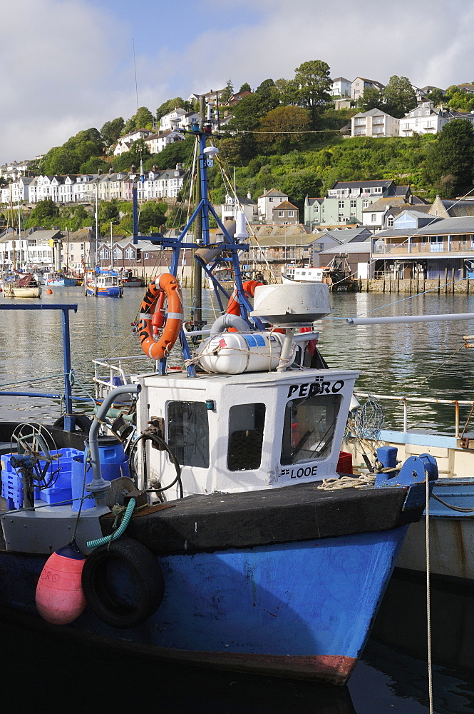 Fishing boats moored in Looe harbour, Cornwall, England, United Kingdom, Europe