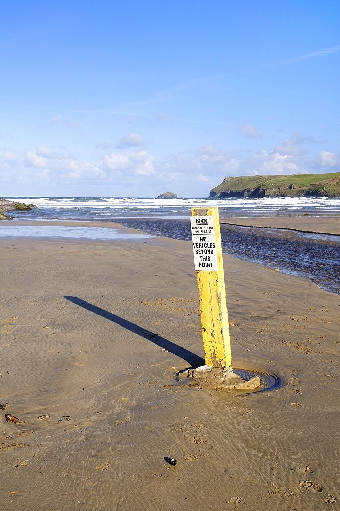 Beach carpark limit sign on Polzeath beach, Cornwall, UK.