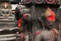 Buddha's Statues In A Small Temple From Thamel Durbar Square, Kathmandu, Nepal