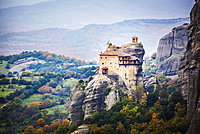 Monastery Perched On A Cliff, Meteora, Greece