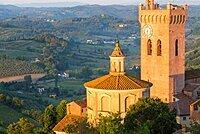 Prato del Duomo and countryside around San Miniato, Tuscany, Italy