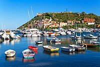 Porto Ercole, the harbour and coastline of the Argentario peninsula, Tuscany, Italy