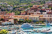 Porto Santo Stefano on Monte Argentario, harbour with boats moored, Tuscany, Italy