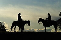 Silhouette of two cowboys on horses against a cloudy sky, Montana, United States of America