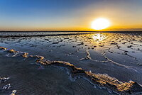 Salt flats of Lake Karum (Lake Assale) at sunset, Danakil Depression, Afar Region, Ethiopia