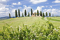Farm house with cypress trees, near Pienza, Val d'Orcia (Orcia Valley), UNESCO World Heritage Site, Siena Province, Tuscany, Italy, Europe