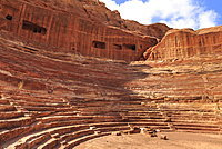 Theatre carved into the mountainside, Petra, UNESCO World Heritage Site, Jordan, Middle East