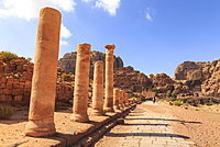 Colonnaded Street, City of Petra ruins, Petra, UNESCO World Heritage Site, Jordan, Middle East