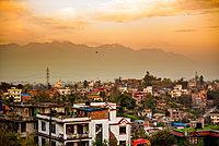 Sunrise over the medieval village of Bhaktapur (Bhadgaon), Kathmandu Valley, Nepal, Asia