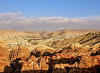 View over Petra towards Wadi Musa, Ma'an Governorate, Jordan, Middle East