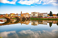 Bridge reflected in the River Arno, Florence, Tuscany, Italy, Europe