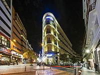 Historic buildings and cafes near Plaza Santao Domingo and Calle Veneras, Calle Calle de Preciados, city centre, Madrid, Spain, Europe