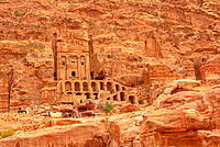 Roman soldier's tomb (Urn tomb) located in the side of the mountain known as al-Khubta, above Wadi Musa, Petra, UNESCO World Heritage Site, Jordan, Middle East