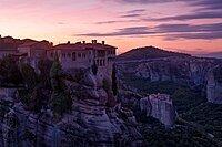 A pink sunrise on Varlaam Monastery, Meteora, UNESCO World Heritage Site, Thessaly, Greece, Europe