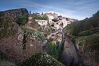 Megalo Meteoro Monastery framed by rocks, Meteora, UNESCO World Heritage Site, Thessaly, Greece, Europe