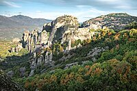 Autumn view of the Meteoras rocks, Meteora, Thessaly, Greece, Europe