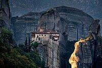 Sunrise on Roussanou (St. Barbara) Monastery, Meteora, UNESCO World Heritage Site, Thessaly, Greece, Europe