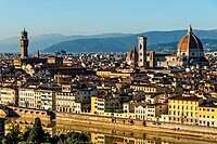 Aerial view in afternoon sun of Florence, UNESCO World Heritage Site, from Piazzale Michelangelo, Tuscany, Italy, Europe