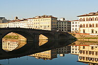 Ponte alla Carraia and Lungarno Corsini reflected in the River Arno, Florence, UNESCO World Heritage Site, Tuscany, Italy, Europe