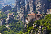 Holy Monastery of Rousanou in the foreground, Meteora, UNESCO World Heritage Site, Thessaly, Greece, Europe