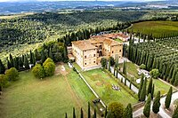 Aerial view, Antico Brunello estate, with olive trees and cypresses, Argiano, Sant'Angelo In Colle, province of Siena, Tuscany, Italy, Europe