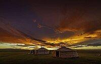 Sunset in the Mongolian steppe, Arkhangai province, Mongolia, Asia