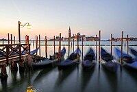 Boat landing stage, jetty with Venetian gondolas, in the back church San Giorgio Maggiore, long exposure, dawn, Venice, Veneto, Italy, Europe