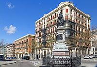 Statue of Maria Cristina de Borbon and architecture in Calle de Filipe, Madrid, Spain, Europe