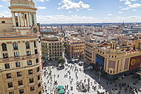 View of Plaza del Calao from elevated position, Madrid, Spain, Europe