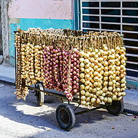 Strings of fresh onions and garlic for sale on a cart in the street, Havana, Cuba