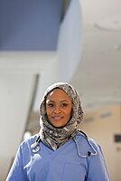 Portrait of a Muslim female nurse smiling
