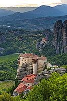 Holy Monastery of St. Nicholas Anapafsas at sunset, UNESCO World Heritage Site, Meteora Monasteries, Greece, Europe