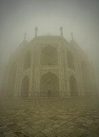 The Taj Mahal on a foggy morning, UNESCO World Heritage Site, Agra, Uttar Pradesh, India, Asia