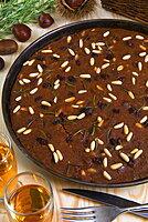 Castagnaccio, pie of chestnut flour with raisins, rosemary and pine nuts, Tuscany, Italy, Europe
