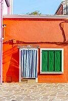 Orange house, colorful facade, Burano Island, Venice, Veneto, Italy, Europe