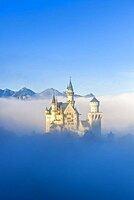 Neuschwanstein Castle in early mist in autumn, near Schwangau, Ostallgaeu, Allgaeu, Swabia, Bavaria, Germany, Europe