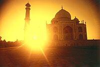 View of the Taj Mahal at sunrise, Uttar Pradesh, India