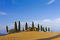 Typical Tuscan homestead, Il Cipressi, and landscape near Pienza in Val D'Orcia, Tuscany, Italy