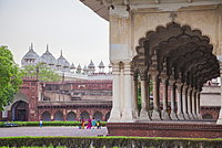 View of the courtyard of the Taj Mahal. one of the most remarkable sights of Muslim architecture, UNESCO World Heritage Site, Agra, Uttar Pradesh, India, Asia