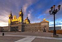 Almudena Cathedral, (Catedral de La Almudena) at sunrise, Madrid, Spain, Europe