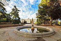Fountain at Jardines De Sabatini and Royal Palace of Madrid (Palacio Real de Madrid), Madrid, Spain, Europe