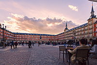 People in Plaza Mayor at sunset, Madrid, Spain, Europe